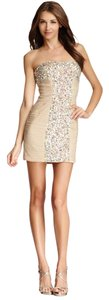 La Femme Beaded Ruched Strapless Prom Dress