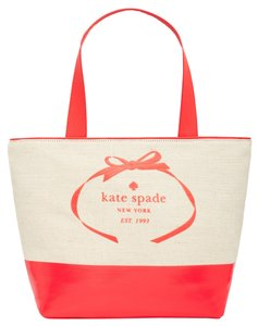 Kate Spade Two-tone Colorblock Fabric Canvas Tote in Beige