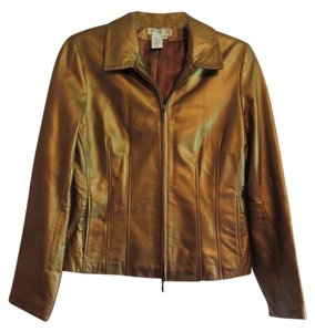 Coldwater Creek Leather Gold Leather Jacket