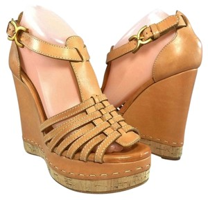 Chlo Wedge Sandal Platform Strappy Tan Wedges