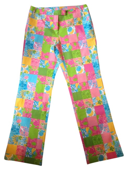 Item - Multi-color - Pink Yellow Green Turquoise Patch Print with Flat Front Pants Size 14 (L, 34)