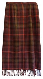 Wool Fully Lined Skirt Brown Plaid