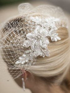Mariell Bold Crystal Ivory Lace Applique Wedding Veil With French Net Birdcage Blusher & Scattered Crystal Edge 4103v-i