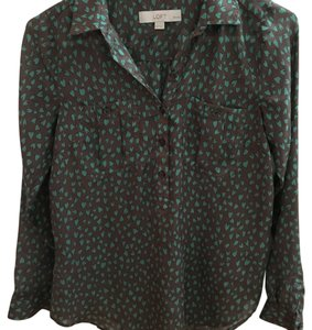 Ann Taylor LOFT Top Brown with turquoise hearts