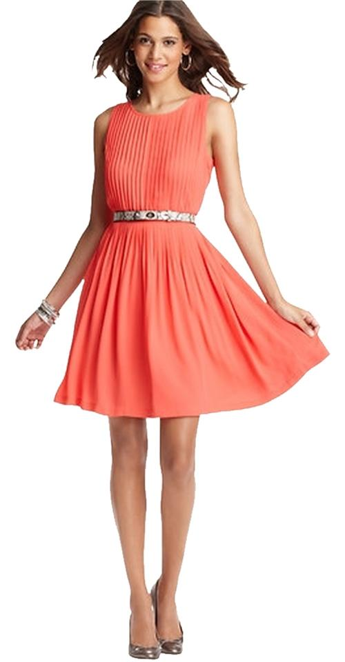 Ann Taylor Loft C Grosgrain Waist Pleated Style 285017 Knee Length Tail Dress Size 6 S 58 Off Retail