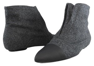 Calvin Klein Collection Flat Oxford Ankle Pointed Toe Stone/Black Boots
