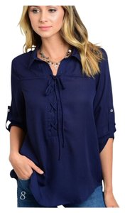 Summer Women Boho Top Navy Blue