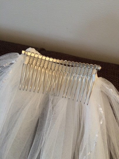 White Medium 2-tier Beaded Scalloped Great Price Bridal Veil