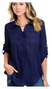 Other Summer Women Boho Cold Lace Up Top Navy Blue