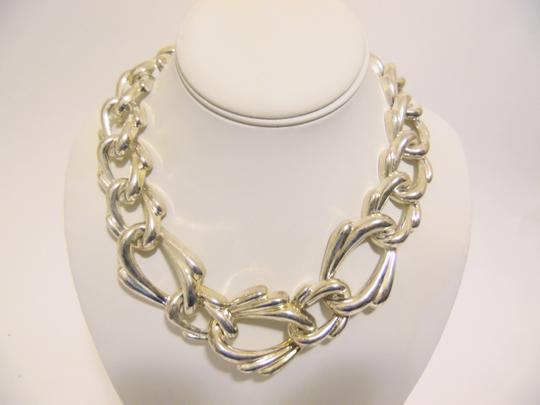 Other 19 Inch Silvertone Texture Statement Necklace with Snape Closure Image 3