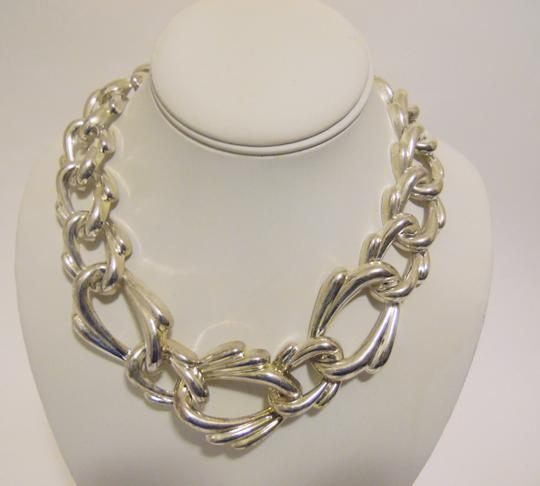 Other 19 Inch Silvertone Texture Statement Necklace with Snape Closure Image 4