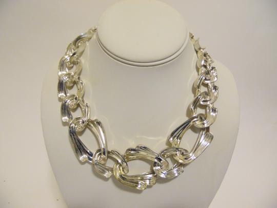 Other 19 Inch Silvertone Texture Statement Necklace with Snape Closure Image 5