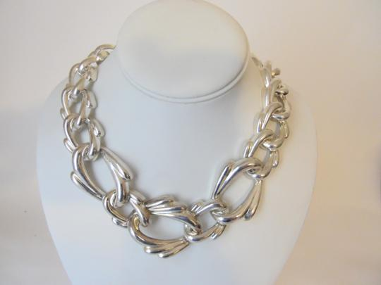 Other 19 Inch Silvertone Texture Statement Necklace with Snape Closure Image 6