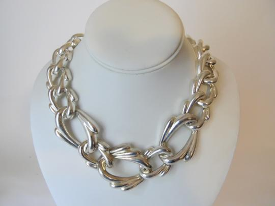 Other 19 Inch Silvertone Texture Statement Necklace with Snape Closure Image 7