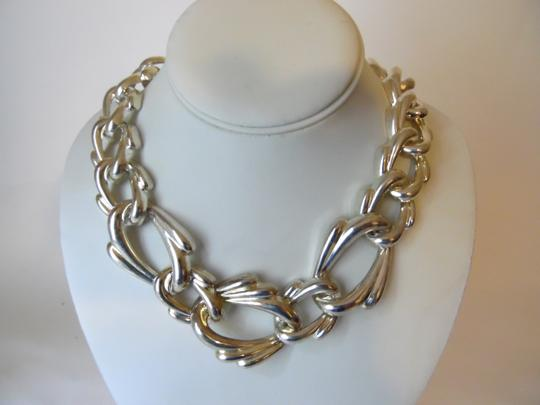 Other 19 Inch Silvertone Texture Statement Necklace with Snape Closure Image 9