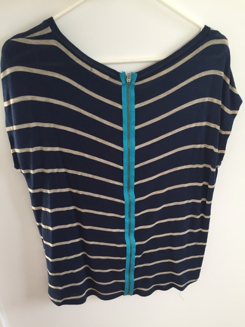 Stem Nordstroms Striped Striped Boxy Striped Exposed Zipper Zipper Wear With Leggings Top Blue