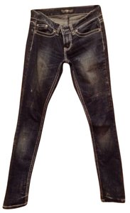 YMI Jeans Blue Denim Washed Straight Leg Jeans-Distressed