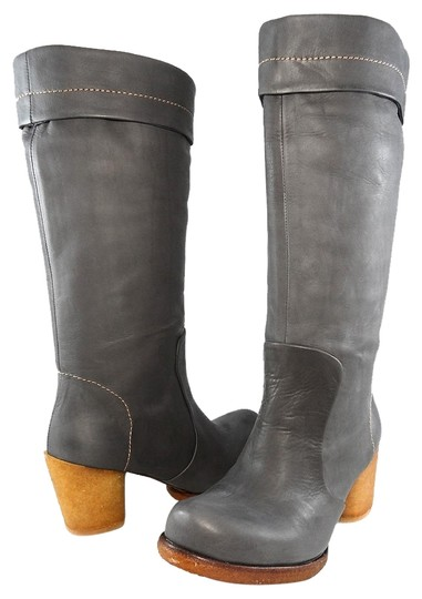 Preload https://img-static.tradesy.com/item/14347936/gray-leather-knee-high-tall-pull-on-chunky-block-crepe-heels-bootsbooties-size-eu-365-approx-us-65-r-0-1-540-540.jpg