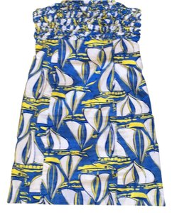 Lilly Pulitzer short dress Blue, Yellow, White Strapless on Tradesy