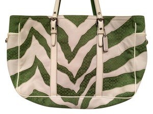 Coach Tote in White and Green