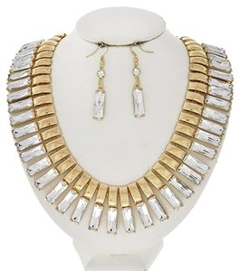 Gold Tone Clear Acrylic Necklace & Earring Set