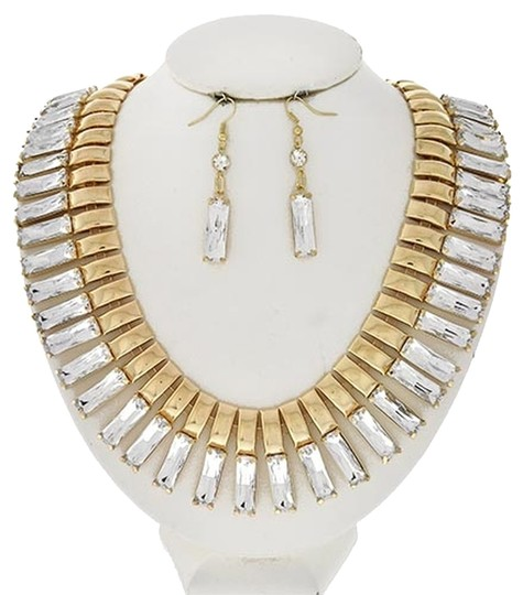Other Gold Tone Clear Acrylic Necklace & Earring Set