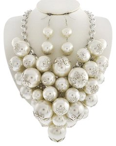 White Synthetic Pearl Necklace & Earring Set