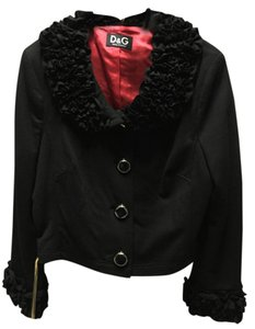 Dolce&Gabbana Ruffle Couture Statement Piece Black Jacket