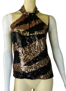 Moda International Sequin Gold Evening Top Black