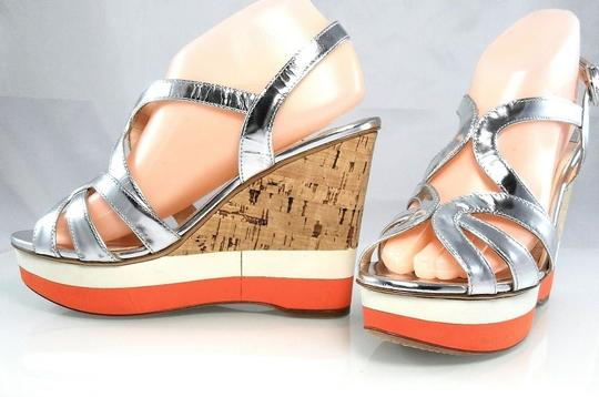 Prada Patent Leather Peep Toe Strappy Platform Cut-out Silver Metallic Wedges Image 1