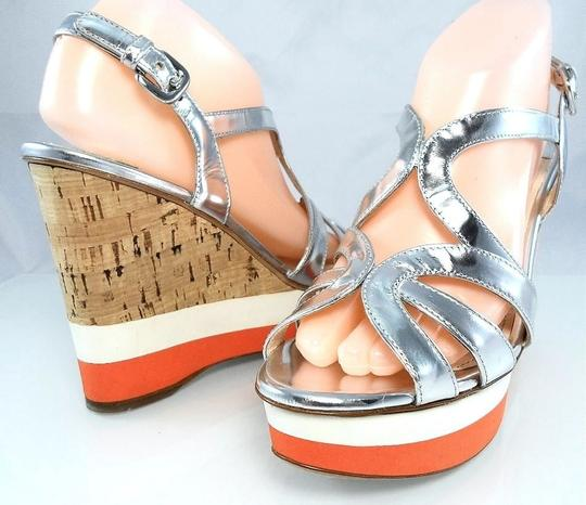 Prada Patent Leather Peep Toe Strappy Platform Cut-out Silver Metallic Wedges Image 2