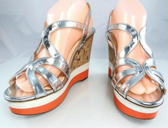 Prada Patent Leather Peep Toe Strappy Platform Cut-out Silver Metallic Wedges Image 3