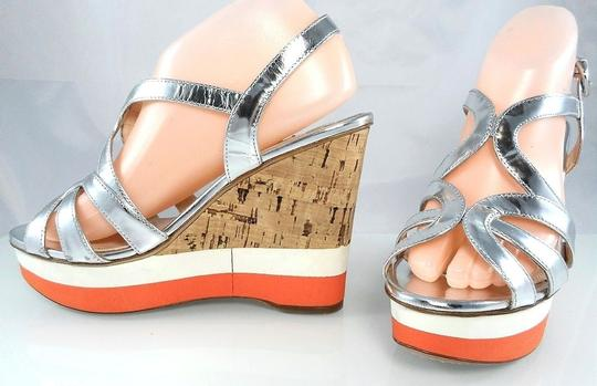 Prada Patent Leather Peep Toe Strappy Platform Cut-out Silver Metallic Wedges Image 6