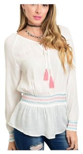 Other Summer Women Boho Pheasant Embroidery Top Off White Pink Accents