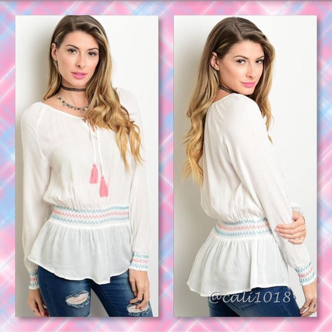 Other Summer Women Boho Pheasant Embroidery Top Off White Pink Accents Image 2