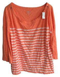 Old Navy Plus-size T Shirt Coral/White