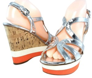 Prada Platform Peep Toe Patent Leather Cut-out Strappy Silver Metallic Wedges
