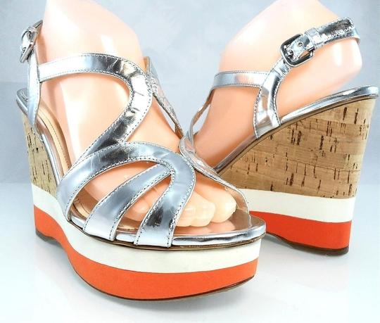 Prada Platform Peep Toe Patent Leather Cut-out Strappy Silver Metallic Wedges Image 1