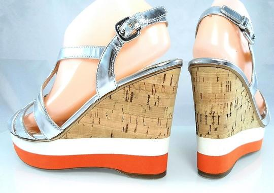 Prada Platform Peep Toe Patent Leather Cut-out Strappy Silver Metallic Wedges Image 5