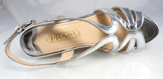 Prada Platform Peep Toe Patent Leather Cut-out Strappy Silver Metallic Wedges Image 7