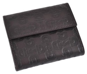 Gucci New Gucci Dark Brown Leather Embossed Horsebit French Coin Wallet
