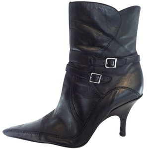 RSVP 11 11.5 Leather Ankle Inside Zip Pointed Toe Black Boots