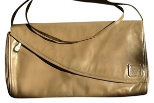 Anne Klein Leather Evening Vintage Beige Clutch