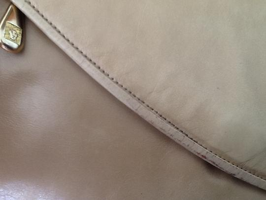 Anne Klein Leather Evening Vintage Beige Clutch Image 3