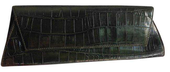 Item - New Croc Rolled Green Leather Clutch