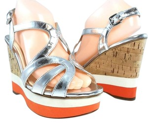 Prada Platform Peep Toe Strappy Cut-out Patent Leather Silver Metallic Sandals