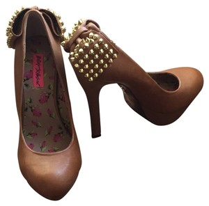 Betsey Johnson Leather Girly Studded Gold Brown Platforms