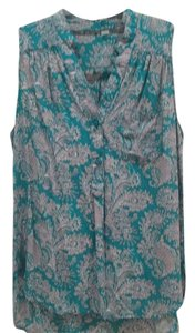 Market & Spruce Button Down Shirt Turquoise with gray print