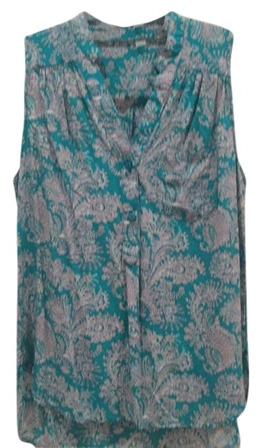 Item - Turquoise with Gray Print Button-down Top Size 8 (M)