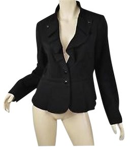 White House | Black Market Pleated Collar Peplum Black Blazer